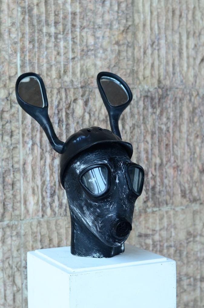 Dear hunter head modern sculpture, treating environmental issues.