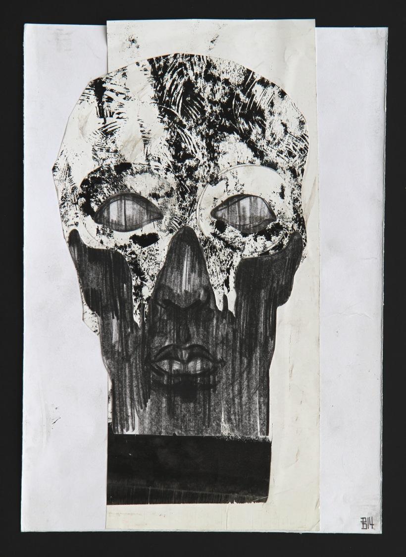 Cranial collage by artist Bogdan Dobrota. Phantomas mask on a face of a regular Joe.