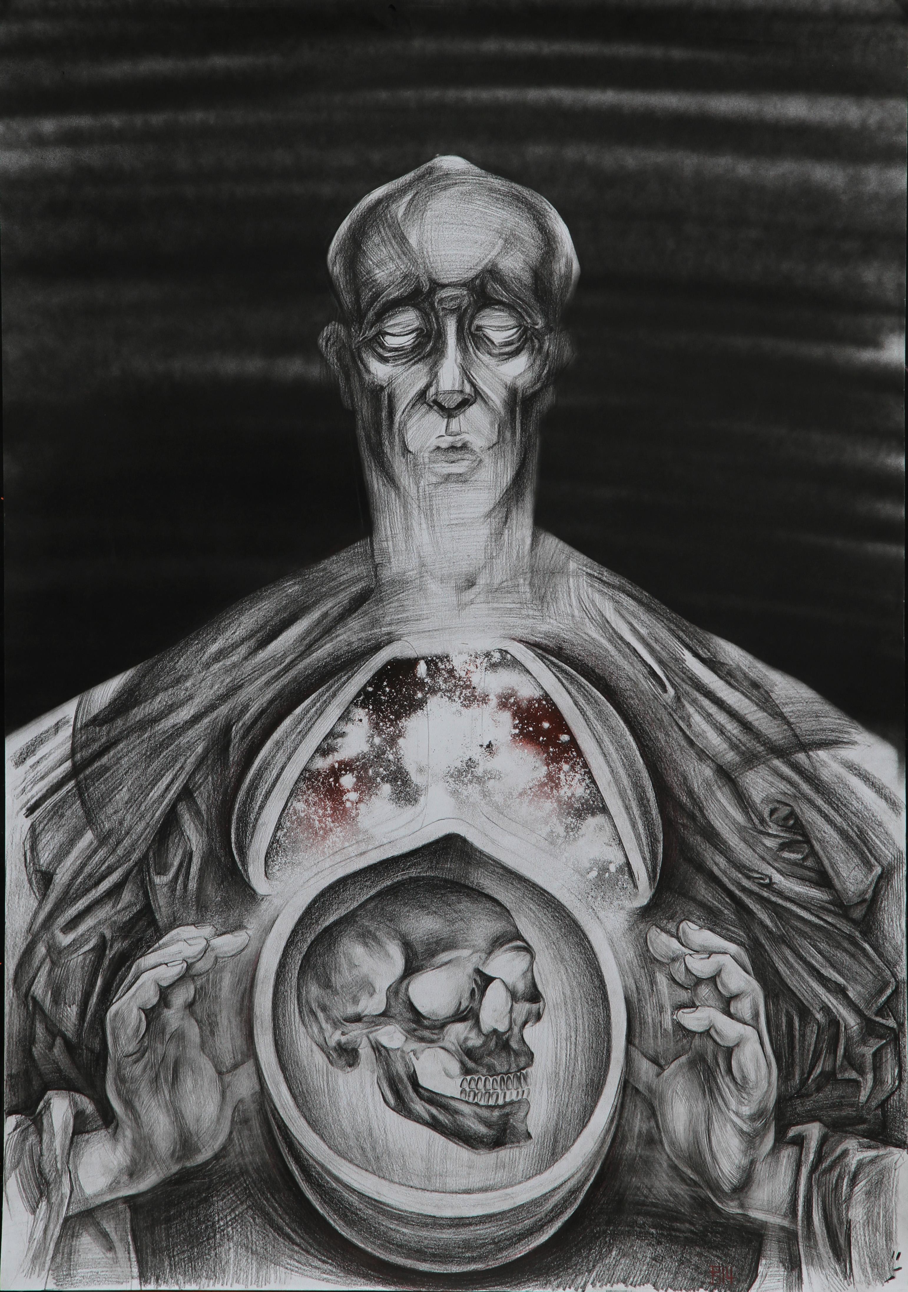 Departure drawing portrait with cranium