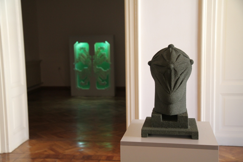 Insect and Head Tower gallery view, works by sculptor Bogdan Dobrota