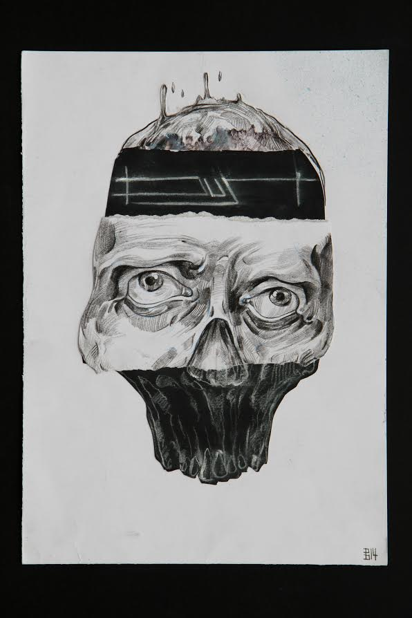 Intersections drawing by artist Bogdan Dobrota. Depicting human cranium with eyes and active brain wave.