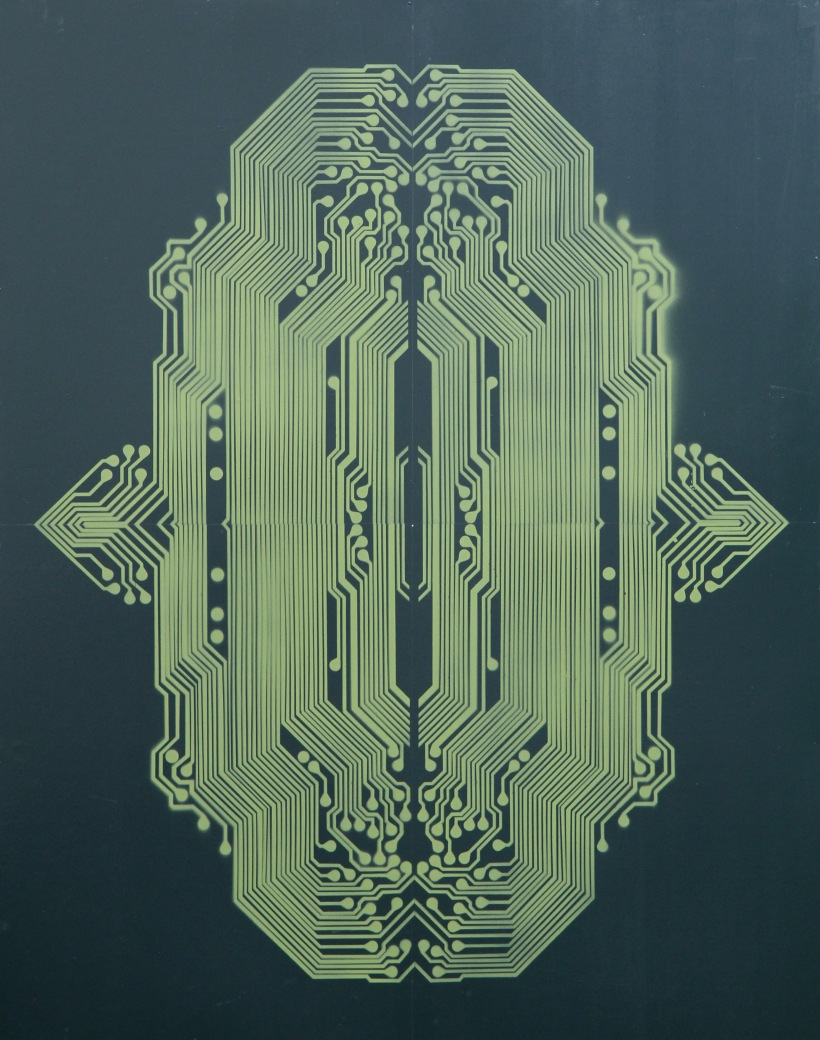 Panel Green, airbrush painting by Bogdan Dobrota,depiction of motherboard crossings as art item of almost pious value to us.